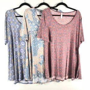 LuLaRoe Perfect T Shirt Women's XXL Lot of 3